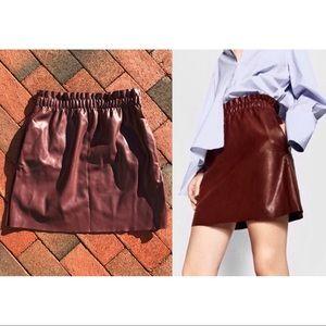 Zara vegan leather pocketed skater skirt OxbloodXS